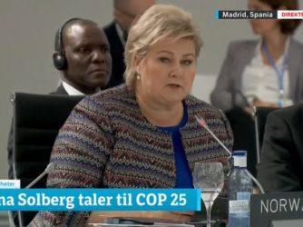 Erna Solbergs åpningstale på COP25 i Madrid
